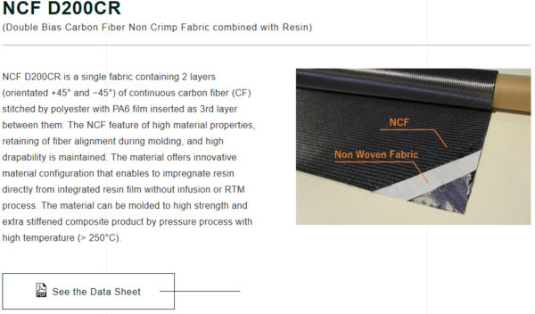 INDUSTRIAL MATERIALS DIVISION released the material data sheet of SHIMTEQ『NCF Resinply(NCF D200CR)』.