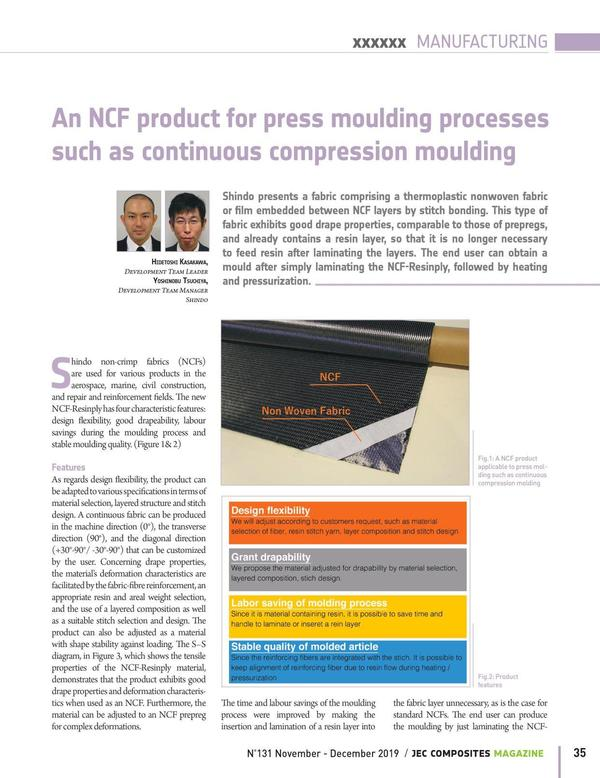 """JEC Composite Magazine No.132 introduced about our thermoplastic product called """"NCF resinply""""."""
